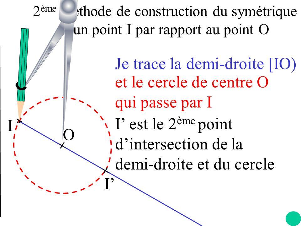 Je trace la demi-droite [IO) et le cercle de centre O qui passe par I